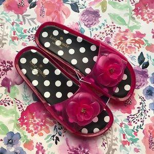 Kate Spade pink jelly flower slides